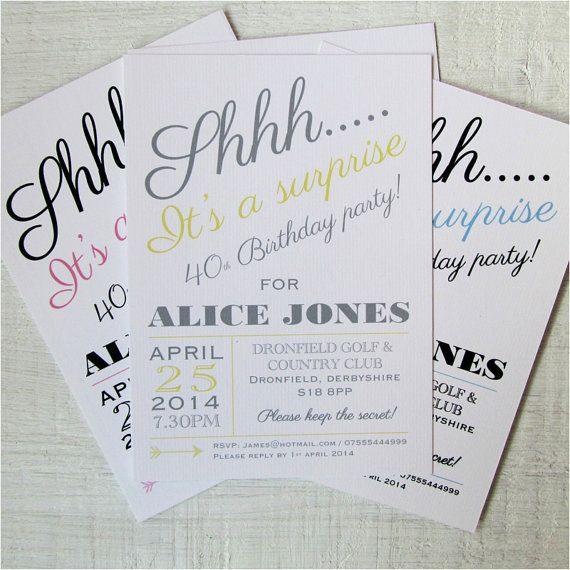 Surprise party invitations. Modern surprise by LoveinaEnvelope, £1.50