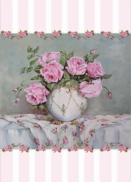 Gail McCormack, PINK ROSES  I THINK I'LL PUT THEM ON THE NIGHTSTAND