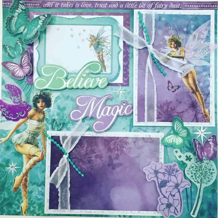 "Fairy scrapbook layout using Kaiser Craft, "" Fairy Dust"" collection. We also used Mayarts ribbon and bling to add sparkle."