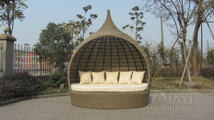 Tear Drop Shape Outdoor Rattan Daybed For Swimming Pool / Poolside transport by sea