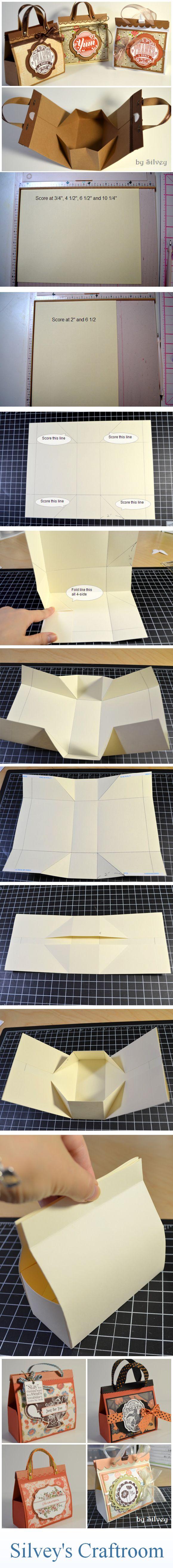 Mini Bag | #craft #box #diy #borsa #contenitore #faidate #cartoncino #idea #tutorial | by http://stampwithsilvey.blogspot.ro/2012/08/mini-bag-tutorial.html