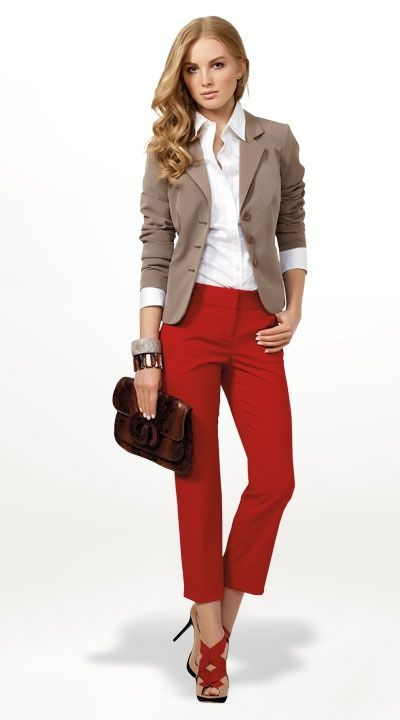 1: Stitch Fix: I like the taupe/tan jacket with the red pants. I could use a versatile white blouse, too.