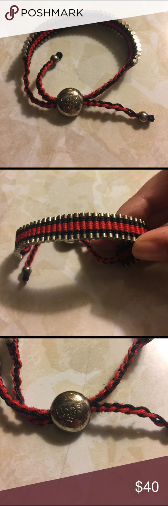 Links London bracelet Red and black bracelet. Has some fraying on the fabric and has some scratching on the fastener as you can see in the pictures. Other than that in good condition. links Jewelry Bracelets