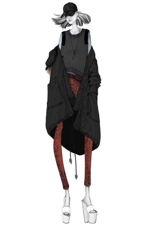 ISSA GRIMM fashion illustration leather baseball hat