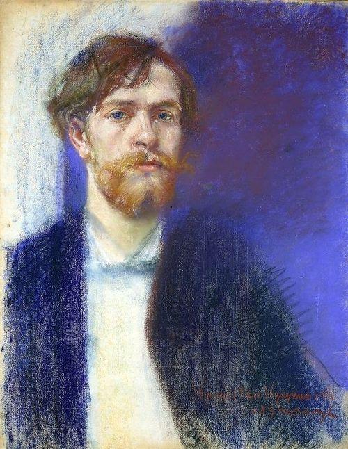 Stanislav Wyspianski ( Polish, 1869 - 1907) , Self Portrait, 1894. Pastel on paper.