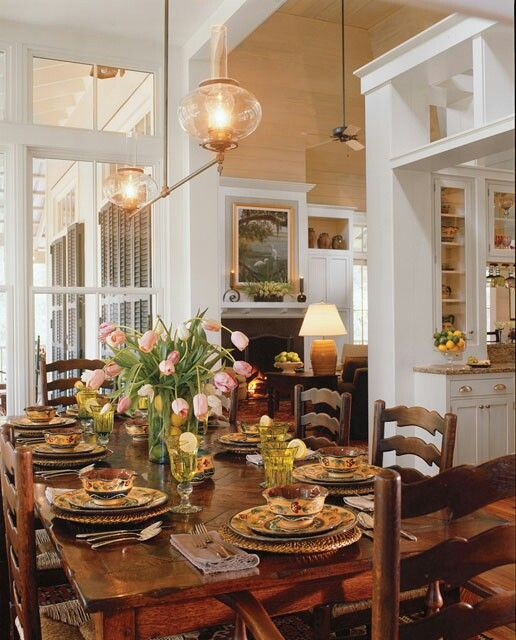 Tideland Haven by Historical Concepts. Dining area looking past the kitchen to the living area.