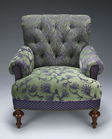 """Middlebury Chair Lavender/Green"" Upholstered Chair Created by Mary Lynn O'Shea"