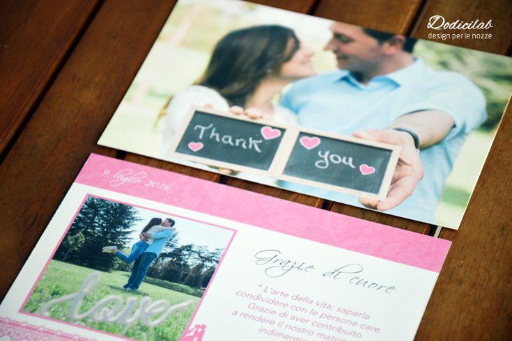 Dettaglio ringraziamento wedding stationery personalizzata tema bacio rosa