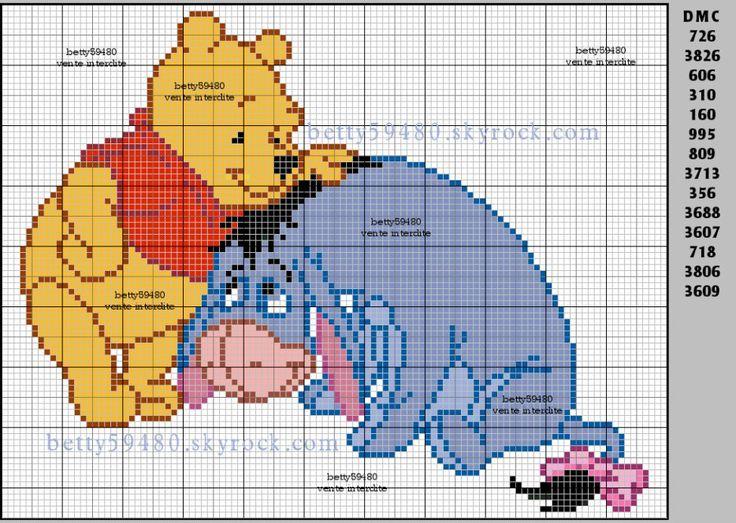 grille winnie et bouriquet   Fée point de croix, Winnie l'ourson, Winnie