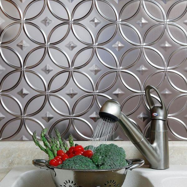 Fasade 18 25 In X 24 25 In Brushed Nickel Rings Pvc Decorative Backsplash Panel B61 29 The Home Depot Backsplash Panels Kitchen Backsplash Panels Backsplash