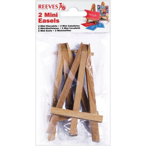 Reeves 4-3/4-Inch by 2-7/8-Inch Mini Easels Wood easels for mini canvases. These mini easels are perfect for displaying your finished mini master pieces on. A great product to go with the packs of mini canvases. Small pictures and much more. Contains two wood easels for mini canvases.  #Reeves #Art_and_Craft_Supply