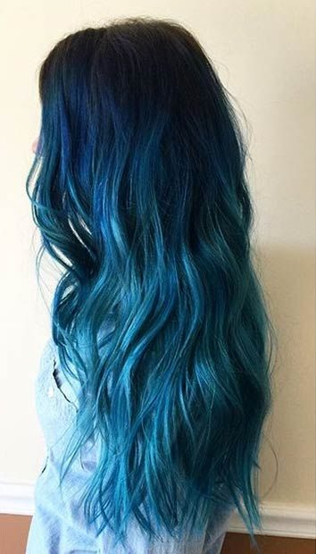 Dark Blue to Light Blue Ombre on Long Hair, cute color...