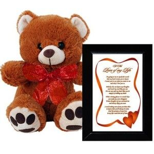 I Love You Valentine's Gift for Wife or Girlfriend – Framed Poem and Bear Valentines Gift For Her