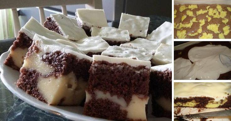 Vynikajúci čokoládový koláčik s ostrovčekmi vanilkového pudingu a smotanovou polevou na vrchu. Navyše, táto dobrota je skutočne jednoduchá na prípravu a zvládne ju skutočne každý.