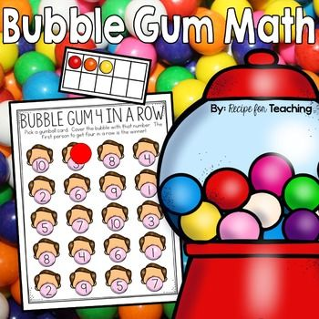 Bubble Gum Math Fun Bubble Gum themed math activities! Ten frame cards, counting mats, spinner games, coverall games, and problem solving activities! Lots of fun for young learners! A lot of these activities are great for math stations!Here is what is included: *Gumball ten frame cards and number cards 1-10 (in color and black and white)*Gumball ten frame mat (in color and black and white)*Gumball machine counting mat (in color and black and white)*3 versions of a Gumball Coverall game (i...