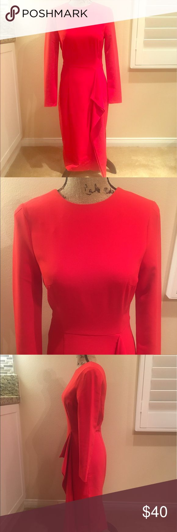 Professional Red dress Fabulous thick material doesn't wrinkle very easy, professional modest look perfect for the office or a night out, zip up back. Mid calf length Dresses