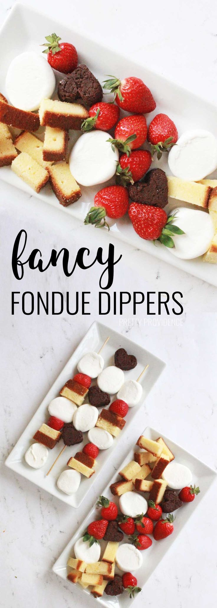 Fancy fondue dippers for Valentine's Day or anniversary desserts! Heart shaped brownies, marshmallows and strawberries are perfect for chocolate fondue!