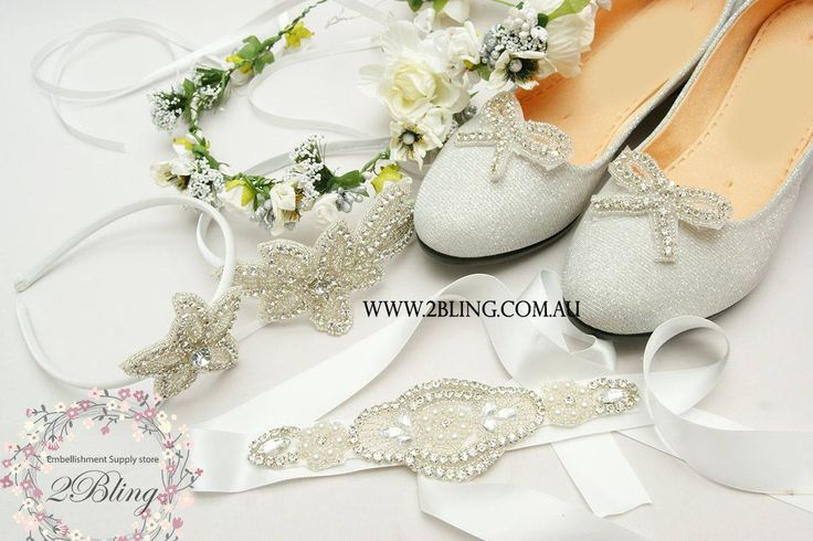 Wedding season is here!  Featuring: Rhinestones bows on metal shoe-clips, Flower crowns, Rhinestones headbands, Rhinestone sash for flower girl dress.  You can get all these supplies from our website. www.2Bling.com.au  #weddingshoes #DIYbride #flowercrown #wedding #shoeclip #sash #flowergirlheadband #DIY #craftinspiration