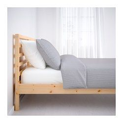 IKEA - TARVA, Bed frame, Queen,  , , Made of solid wood, which is a durable and warm natural material.If you oil, wax, lacquer or stain the untreated solid wood surface it will be more durable and easy to care for.
