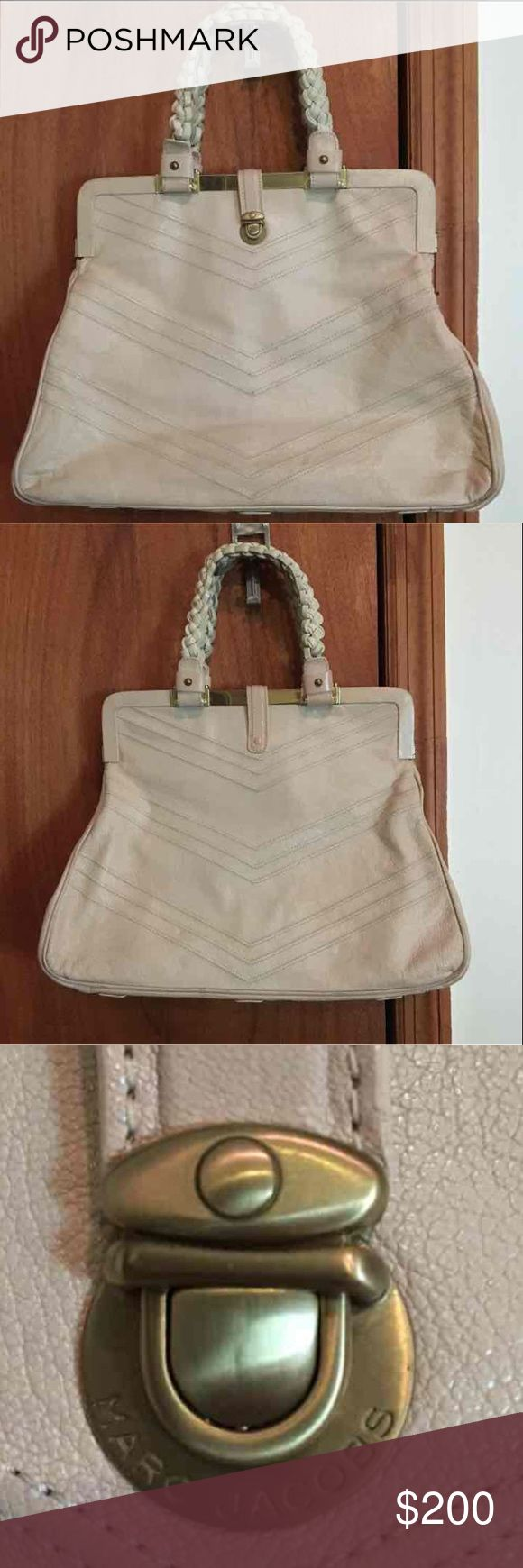 Authentic Marc Jacobs Chevron Frame Satchel -Ivory Authentic. Ivory color Leather with burgundy suede lining. Gold hardware. Braided leather handles. Zip pocket inside. Used but well cared for. Bottom corners are slightly scraped. See photo. Marc Jacobs Bags Satchels