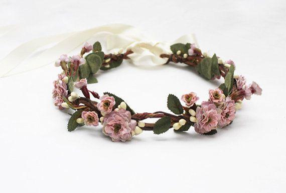 Pink Bridal Flower Crown  Weddings Floral by BloomDesignStudio