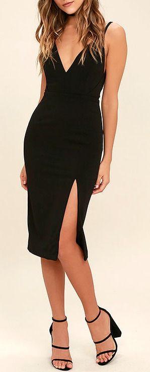 Chart Topper Black Bodycon Dress
