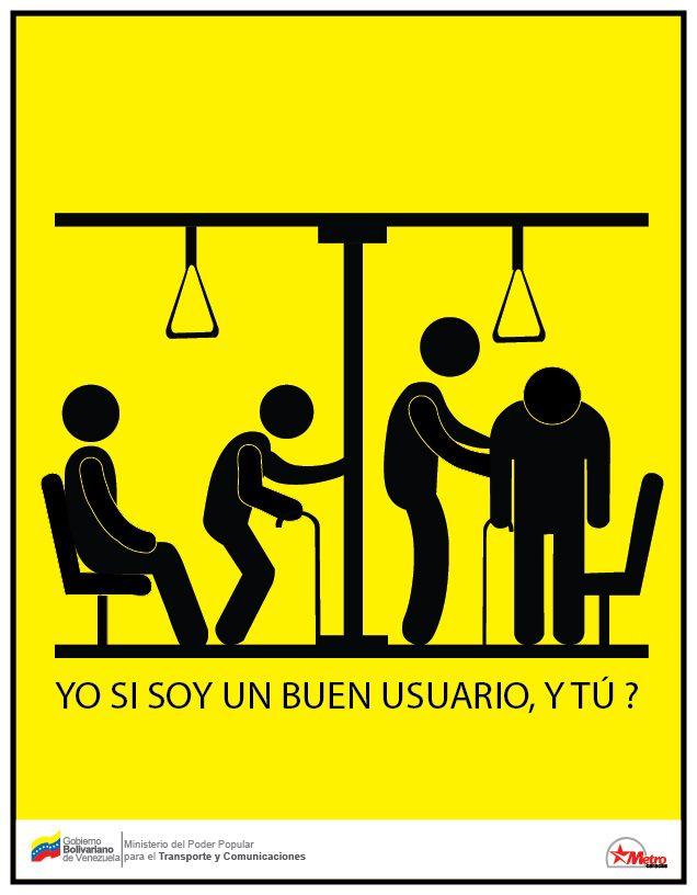 Publicidad estilo señaletica para la campaña de concientización de el metro de la ciudad de Caracas