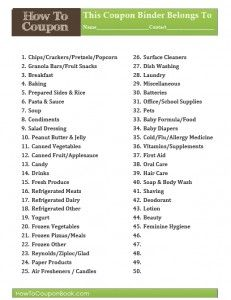 Ideas for categories for organzing your coupons.