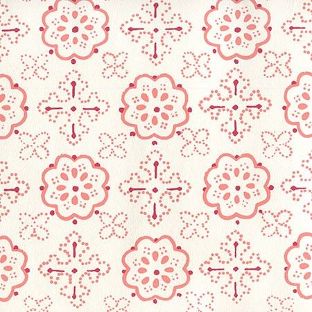 306305W, Crawford, Multi Red Terracotta on Almost White, Quadrille Wallpapers