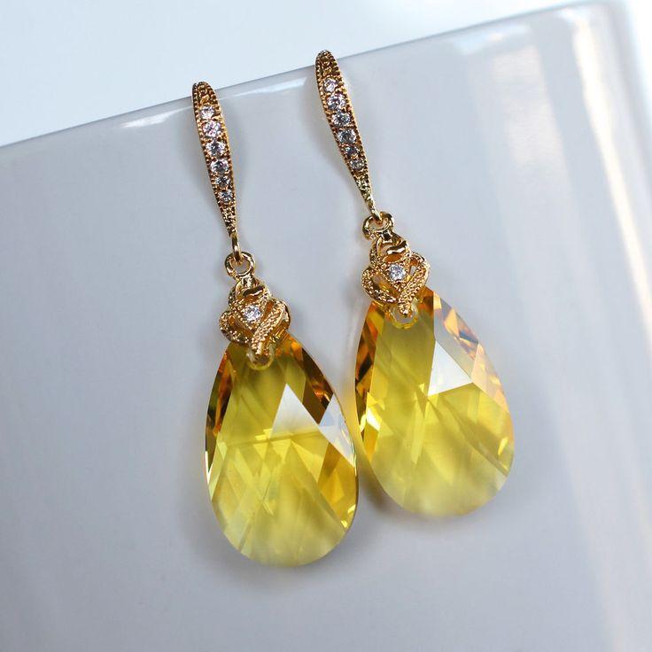 Handmade Swarovski Crystal Yellow Lt Topaz Pear Dangle Earring (Sparkle-2193-U)