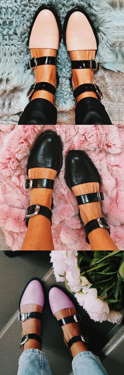 SHOP NOW>>$45.99 2019 Fashion Trends Low Heel Color block Buckle Flats – Britt Pijls