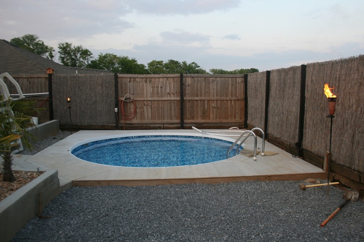 above ground pool buried-good option for 1st home turning rental property