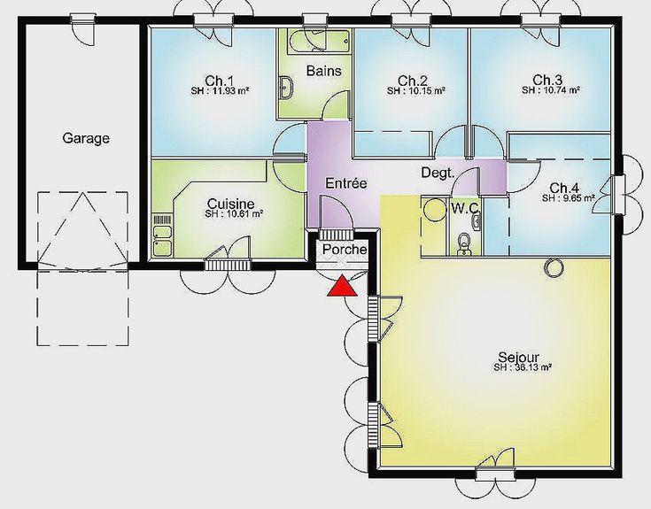 Plan Maison Plain Pied 3 Chambres 100m2 Nouveau 2 - biodataku.info (avec images)   Maison plain ...