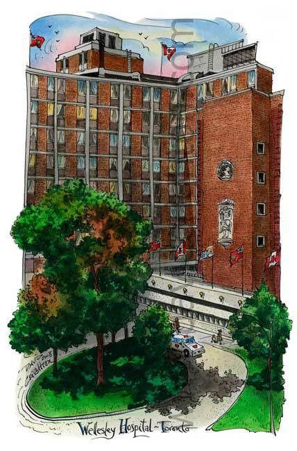 Wellesley Hospital, Toronto by Artist Illustrator David Crighton Art.