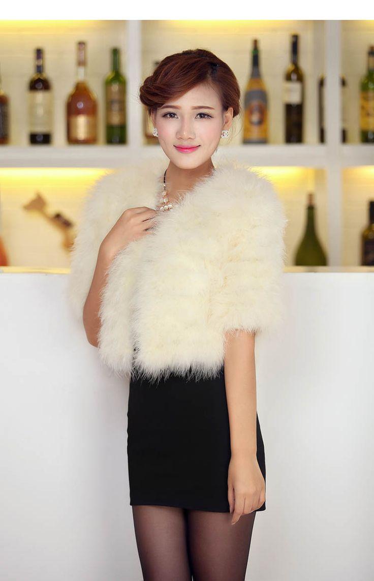 Природных Страус мех Шаль для дам женщин реальные подлинные индейки меховые шапки короткие белые невесты свадебное мыс осень зима мех куртка купить на AliExpress