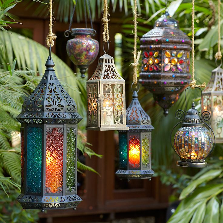 a collection of hanging lamps