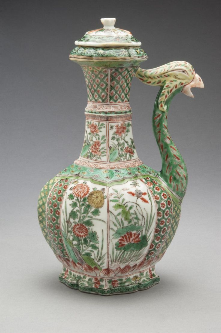 Ewer (one of a pair) Artist/maker unknown, Chinese Geography: Made in China, Asia Period: Qing Dynasty (1644-1911) Date: Kangxi Period (1662-1722) Medium: Porcelain with overglaze enamel decoration (Famille verte)