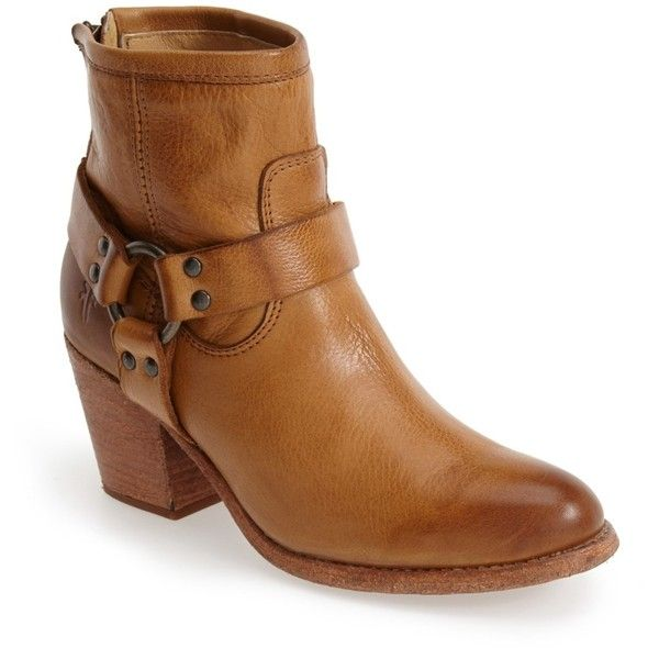 Frye Tabitha Harness Bootie ($180) ❤ liked on Polyvore featuring shoes, boots, ankle booties, camel, stacked heel ankle boots, camel boots, harness ankle boots, ankle bootie boots and back zipper boots