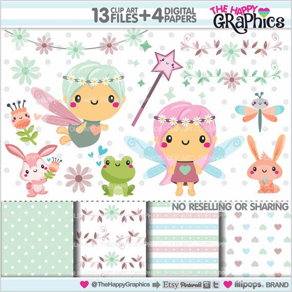 Fairy Clipart Spring Clipart COMMERCIAL USE by TheHappyGraphics