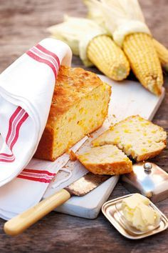 South African food. Mielie (corn) and beer bread.