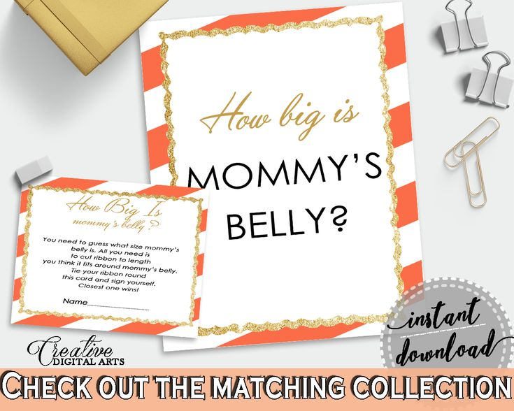 Shower Orange Theme Orange Stripes Baby Mommy's Belly Game Belly String HOW BIG IS Mommys Belly, Shower Celebration - bs003 #babyshowergames #babyshower