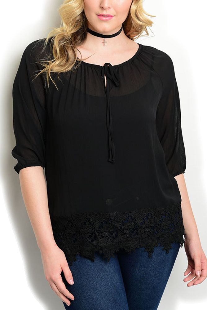 DHStyles Women's Black Plus Size Trendy Chic Sheer Crocheted Fringed Hem Dressy Top - 2X Plus #sexytops #clubclothes #sexydresses #fashionablesexydress #sexyshirts #sexyclothes #cocktaildresses #clubwear #cheapsexydresses #clubdresses #cheaptops #partytops #partydress #haltertops #cocktaildresses #partydresses #minidress #nightclubclothes #hotfashion #juniorsclothing #cocktaildress #glamclothing #sexytop #womensclothes #clubbingclothes #juniorsclothes #juniorclothes #trendyclothing…