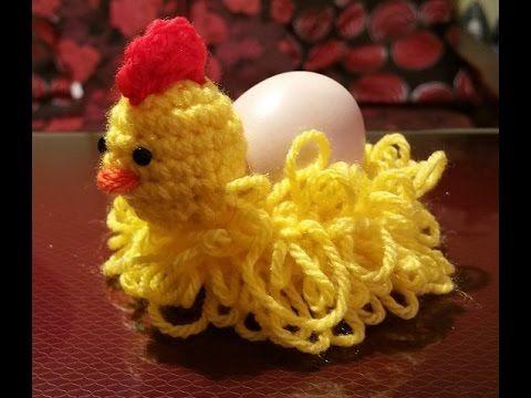 Gallina all'uncinetto portauovo - Gadget Pasqua - gallina en crochet - YouTube