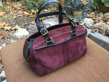 Vintage Soho Coach Suede Leather Satchel Burgundy Wine#G04S-7474 Immaculate