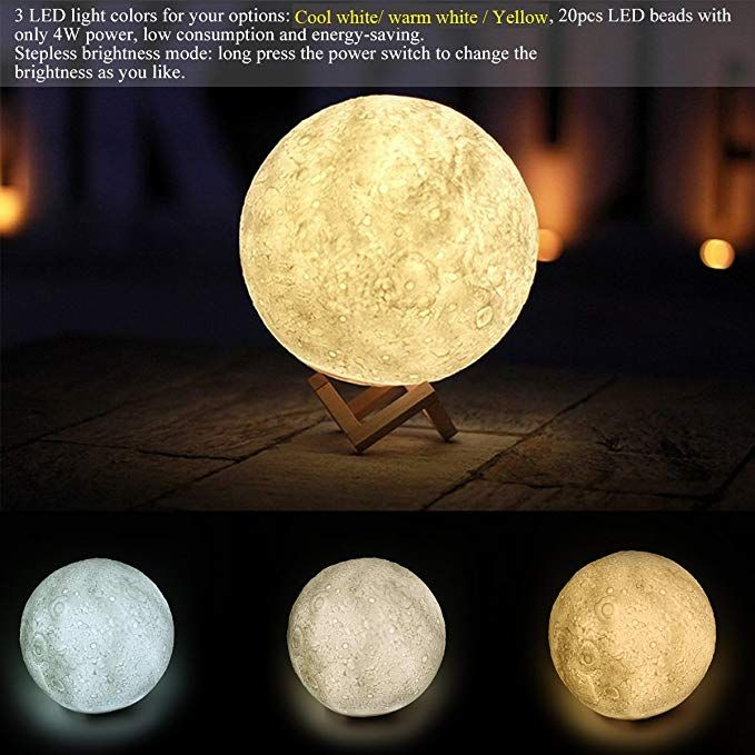 Large 3d Printed Moon Lamp Led Night Light Table Desk Lamp Usb Charging With Wooden Stand Touch Control 3 Led Night Light Baby Night Light Rechargeable Light