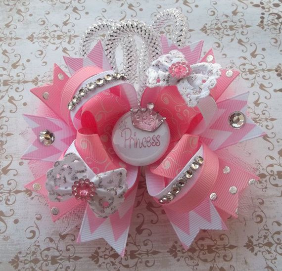 Pretty In Pink Princess Over The Top Boutique Hair Bow - Baby and Girls