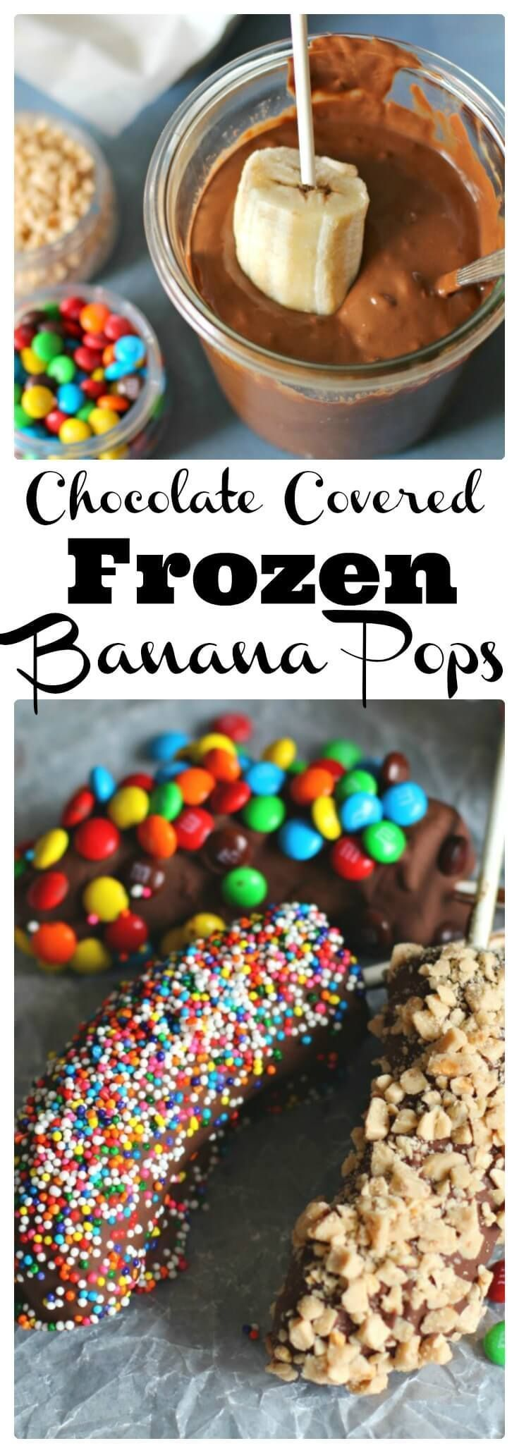 These Frozen Chocolate Dipped Bananas will not only be a fun activity to do with your kids, but they will be a fresh, healthy treat for their bottomless stomachs! Pick your toppings: M&M's, sprinkles, nuts, coconut! #dessert #bananas #chocolate #m&ms #treats #sprinkles
