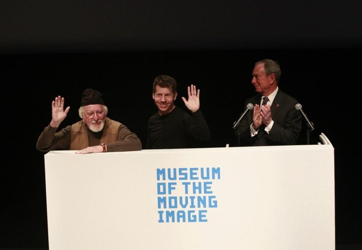 5/21/13 - Mayor Bloomberg (right) was joined by puppeteer Caroll Spinney (left) for Oscar The Grouch and Eric Jacobson (center) for Miss Piggy. Mayor Michael Bloomberg give Miss Piggy a kiss during the announcement of Jim Henson's estate giving nearly 400 Muppet-related items to Astoria's Museum of Moving Image.