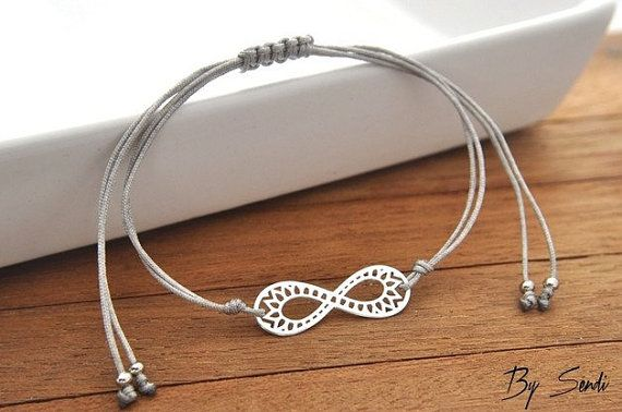 Sterling Silver Infinity Bracelet, Small Infinity, Silver Infinity, Tiny Infinity, String, Infinity Pendant, Infinity Charm, Talisman Silver…