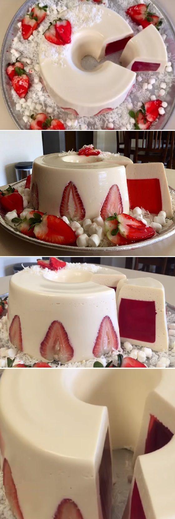 """Gelatina de 3 leches con Yogurt natural y fresa """" By Creaciones Prin. #gelato #gelatina #receta #recipe #nestlecocina Les comparto una gelatina que a la mayoria le encanta pero no sabe como se hace … """" Si te gusta dinos HOLA y dale a Me Gusta MIREN …"""